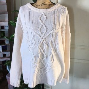 Obey #89 Chunky Knit Sweater Size Large Cream